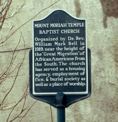 Mount Moriah Temple Baptist Church Marker image. Click for full size.