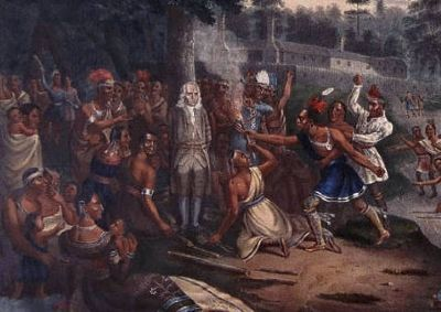 Photo of 19th century depiction of the incident in color. Collection of Historical Society. image. Click for full size.