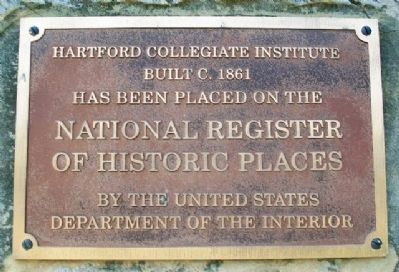 Hartford Collegiate Institute NRHP Marker image. Click for full size.