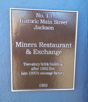 Miners Restaurant & Exchange Marker image. Click for full size.