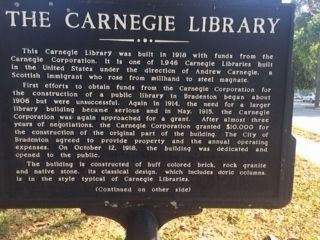 Carnegie Library Marker (side 1) image. Click for full size.