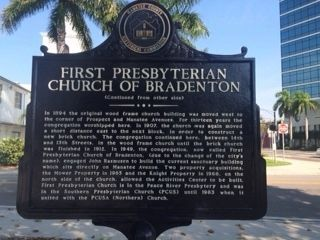 First Presbyterian Church of Bradenton Marker (side 2) image. Click for full size.