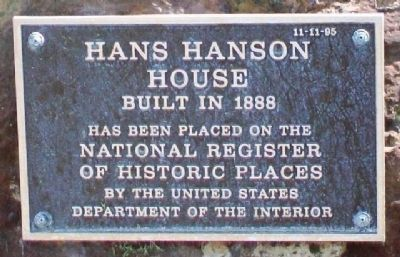 Hans Hanson House NRHP Marker image. Click for full size.