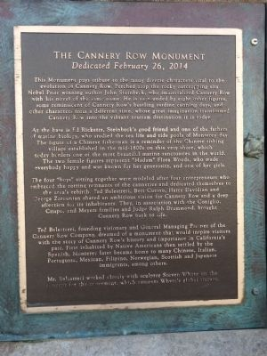 The Cannery Row Monument Marker image. Click for full size.