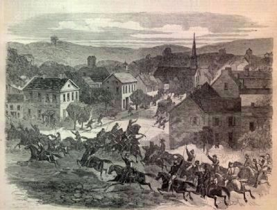 Morgan's Raid — Entry of Morgan's Feebooters into Washington Ohio image. Click for full size.