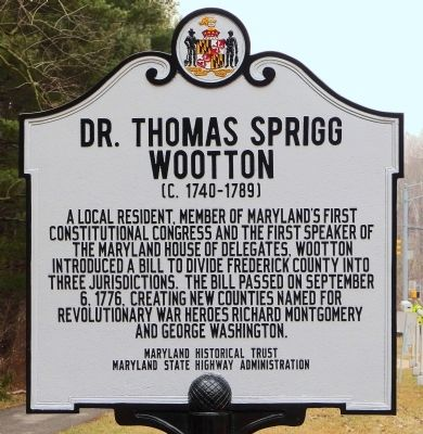 Dr. Thomas Sprigg Wootton<br>(c. 1740-1789) Marker image. Click for full size.