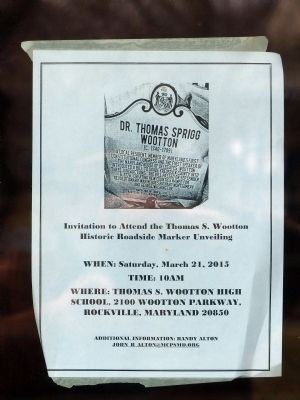 Invitation to Attend<br>the Thomas S. Wootton<br>Historic Roadside Marker Unveiling image. Click for full size.