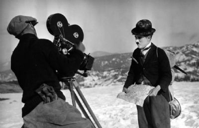 Filming Charlie Chaplin's Gold Rush image. Click for full size.