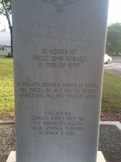 American Legion Veterans Memorial (front) image. Click for full size.