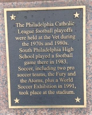Veterans Stadium Sculptures Marker at Punter (1974) image. Click for full size.