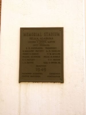 Stadium construction plaque (Erected 1949). image. Click for full size.