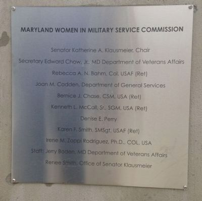 Maryland Women in Military Service Monument Marker image. Click for full size.