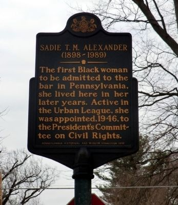 Sadie T.M. Alexander Marker image. Click for full size.
