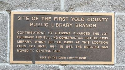Site of the First Yolo County Public Library Branch Marker image. Click for full size.