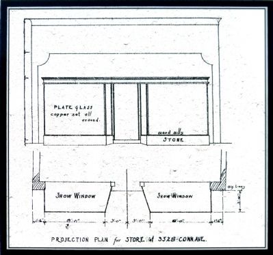 Projection Plan for Store lost 3528 Conn. Ave<br>Harvey H. Warwick, May 14, 1928 image. Click for full size.