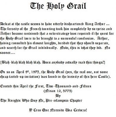 The Holy Grail Marker image. Click for full size.