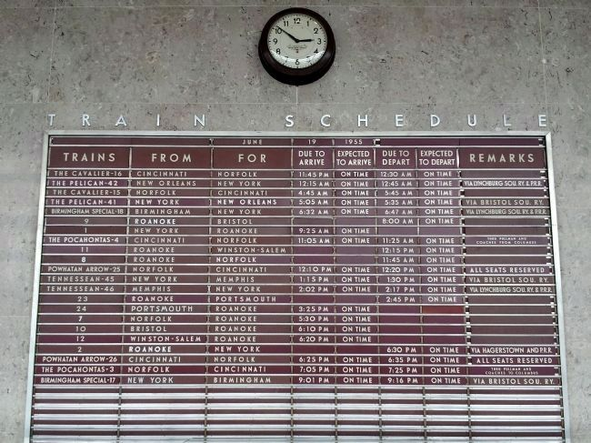 N&W Passenger Station Train Schedule Board Photo, Click for full size