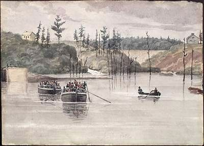Durham boats passing through Jones Falls in the 1830s image. Click for full size.