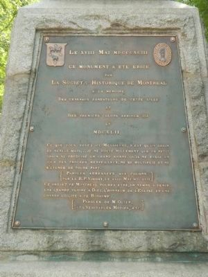Montr�al�s Founders and First Colonists Monument, Dedication panel image. Click for full size.