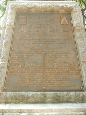 Montr�al�s Founders and First Colonists Monument, Founders panel image. Click for full size.