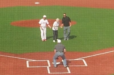 Mary Regan, David Regan's Mother Throws Ceremonial First Pitch image. Click for full size.