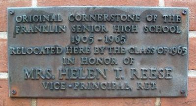 Original Cornerstone of the Franklin Senior High School Marker image. Click for full size.