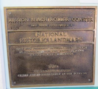 Mission Beach Roller Coaster Marker image. Click for full size.