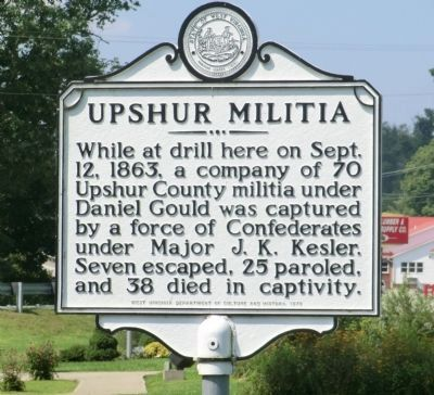 Upshur Militia Marker image. Click for full size.