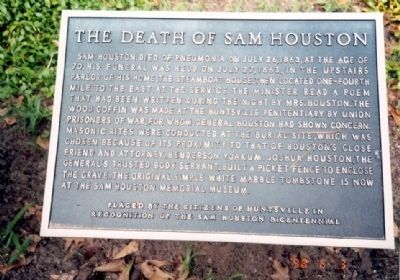 Death of Sam Houston Marker image. Click for full size.