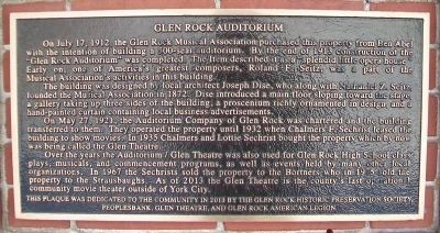 Glen Rock Auditorium Marker image. Click for full size.