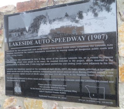Lakeside Auto Speedway (1907) Marker image. Click for full size.