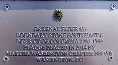 Original Federal Boundary Stone Southeast 6 Marker image. Click for full size.