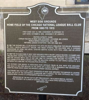 West Side Grounds Marker image. Click for full size.