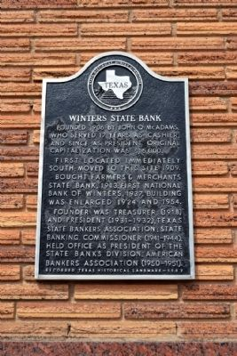 Winters State Bank Marker image. Click for full size.
