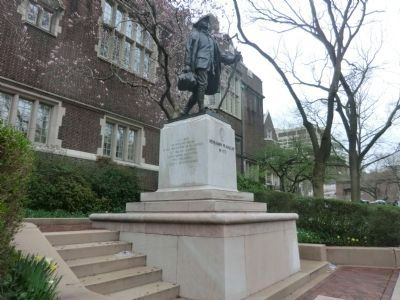 The Penn Relays Marker is near the statue of Benjamin Franklin image. Click for full size.