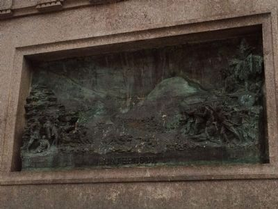 Bronze relief of the Battle of Coatepeque (south side of monument). image. Click for full size.