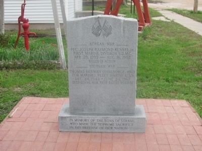 The south side of the Fallen Sons of Strang marker lists those who died in Korea and Vietnam. image. Click for full size.
