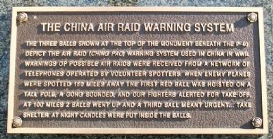 The China Air Raid Warning System at The Flying Tigers Monument image. Click for full size.