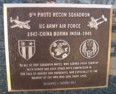 9th Photo Recon Squadron Marker image. Click for full size.