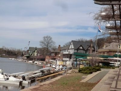 Boathouse Row-River side-distant photo image. Click for full size.