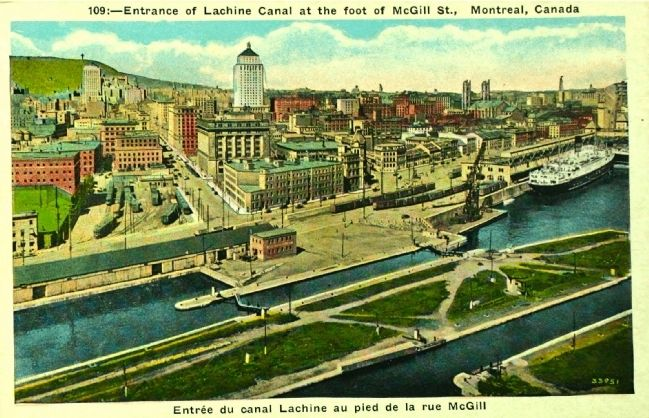 <i>Entrance of Lachine Canal at the Foot of McGill St., Montreal, Canada</i> image. Click for full size.