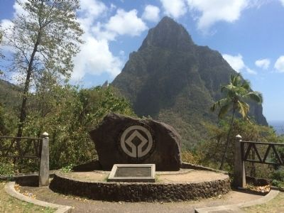 Wide view of The Pitons World Heritage Site Marker image. Click for full size.