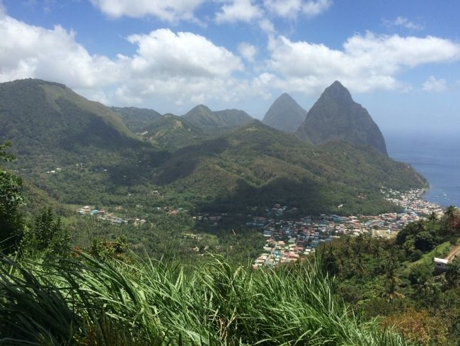 Another view of the Pitons with the town of Soufriere at the base. image. Click for full size.