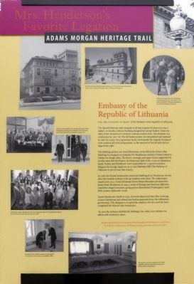 Embassy of the Republic of Lithuania Marker image. Click for full size.
