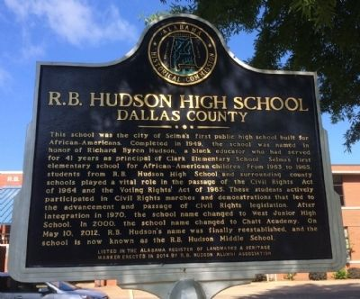R.B. Hudson High School Marker image. Click for full size.