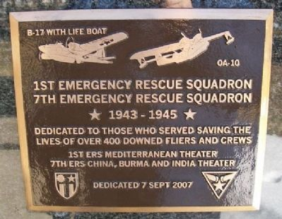 1st and 7th Emergency Rescue Squadrons Marker image. Click for full size.