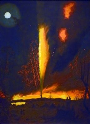 Burning Oil Well at Night, near Rouseville Pennsylvania image. Click for full size.
