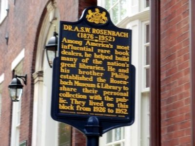 Dr. A.S.W. Rosenbach Marker image. Click for full size.