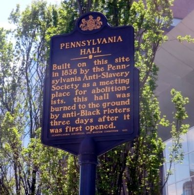 Pennsylvania Hall Marker image. Click for full size.