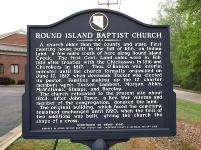 Round Island Baptist Church Marker image. Click for full size.